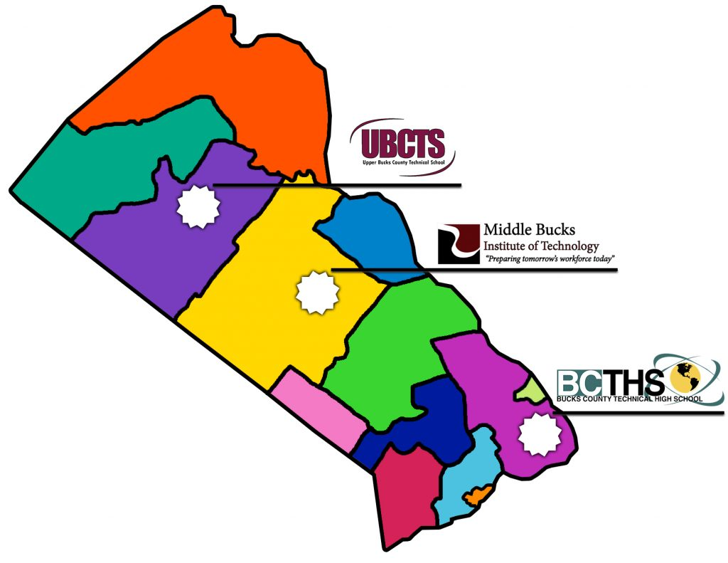 Bucks County map of school districts with the 3 career technical center's locations noted.