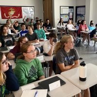 Freshmen crowded into Sean Burke's classroom for a three-day AP Boot Camp to get a head start on AP Human Geography.