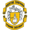 Bristol Township school district logo of a ribbon above and below a seal done in gold and black on white.