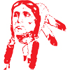 Bristol Borough Warriors Logo of an indian chief head in red on white.