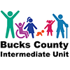 Bucks County Intermediate Logo of name and stick figures representing diversity, inclusiveness, and ages birth-21.