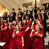 The Quakertown Community High School Varsity Singers perform at the state Capitol.