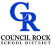 Council Rock School District Logo of a stylized CR in royal blue