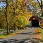A red covered bridge amongst beautifully colored autumn tree leaves.
