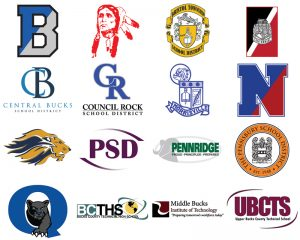All 13 Bucks County School District Logos and 3 Career Technical School Logos