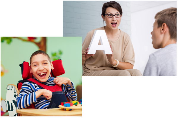 Pictures of a speech therapist working with a child as well as a child with special needs smiling at the camera from his school table.