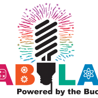 Fab Lab Logo with name and light bulb shooting fireworks