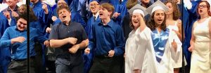 The Quakertown Community High School chorus does its thing during the Commencement Ceremony at Lehigh University's Stabler Arena.