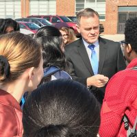 Quakertown Community School District Superintendent Dr. Bill Harner speaks with students during a visit to the Cheltenham School District.
