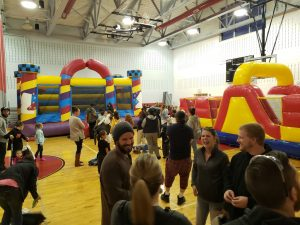 picture of gym with inflatable bounce houses