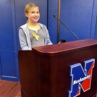Sara Harvey speaks at a Neshaminy School Board meeting