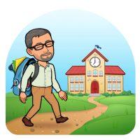 Bitmoji teacher walking into a cartoon school