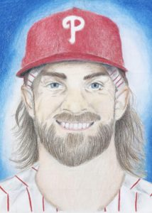 Kenzie Sawadski's drawing of Phillies' Bryce Harper, with a ped cap and beard.