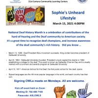 Colorful flyer advertising National Deaf Month and events to honor deaf champions and increase awareness of the deaf community's rich history