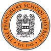 Pennsbury School District logo of a circle surrounding a shield type design.