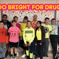 Students and staff are wearing bright neon color shirts to show everyone that they are Too Bright for Drugs