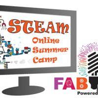 Computer screen with a STEAM contraption and STEAM Online Summer Camp name beside the Bucks IU FAB LAB logo.