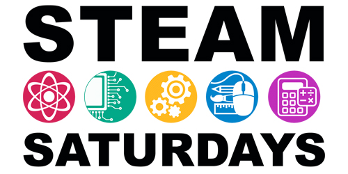 STEAM Saturday logo with an icon representing each of the letters in STEAM.