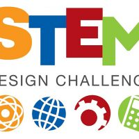 STEM - Science Technology Engineering Math - Design Challenge written out with icons for each of the 4 categories of STEM.