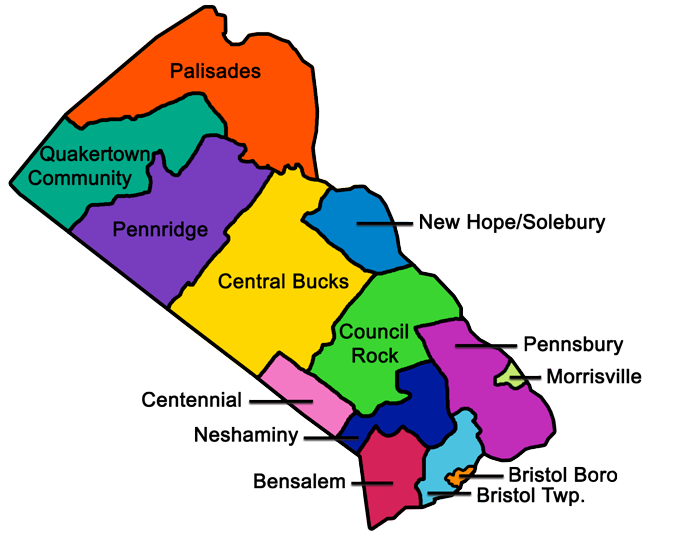 Bucks County map with all 13 school districts delineated and named.