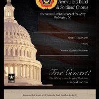 Flyer for US Army Field Band Concert with logo in red, yellow, blue with the US Capitol advertising free concert