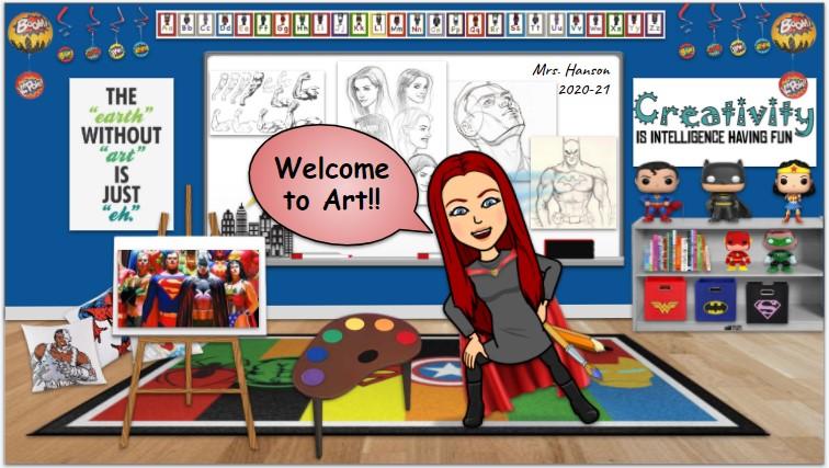 Bitmoji art teacher in her cartoon classroom