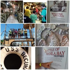 pictures of students of boat, picture of inside of submarine, picture of informational poster about the USS Becuna