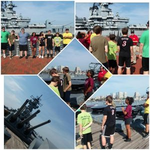 pictures of students exploring battleships