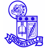 Morrisville school district logo of a bulldog, shield and banner.