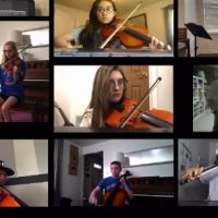 Neshaminy orchestra musicians play in a video
